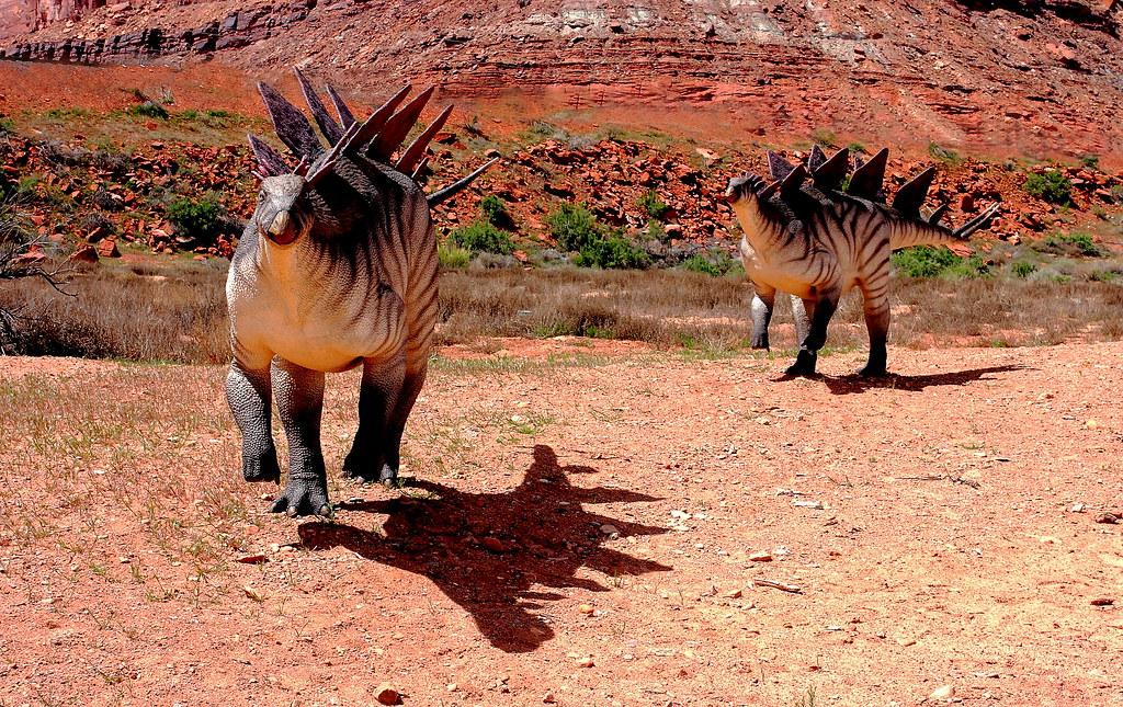 charging stegosauruses these attacking stegosauruses were flickr