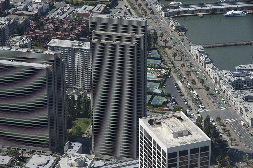 Aerial View Of Four Embarcadero Center And The Embarcadero San Francisco California By