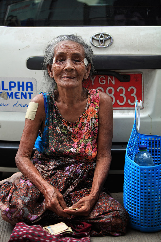 A Beautiful Soul Begging On The Streets Of Yangon