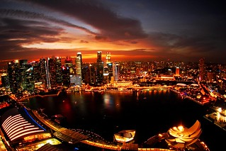 Singapore night in a fisheye view | by aotaro