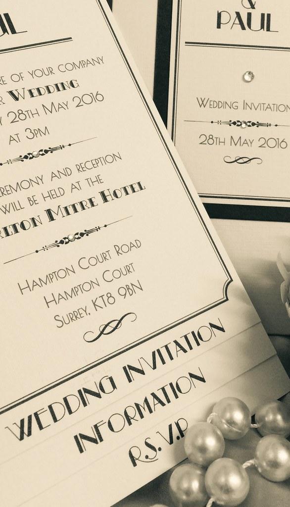 Stunning art deco style vintage wedding invitation. Pocket… | Flickr