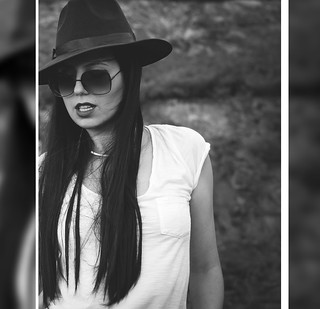 black-white-photography-model-fashion-blogger-long-sleek-straight-hair-hat-sunglasses-white-tshirt (2) | by Rue de Tres Chic