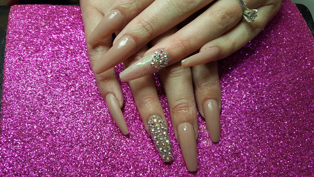 Ballerina nails with nude gel polish and swarovski crystal…   Flickr