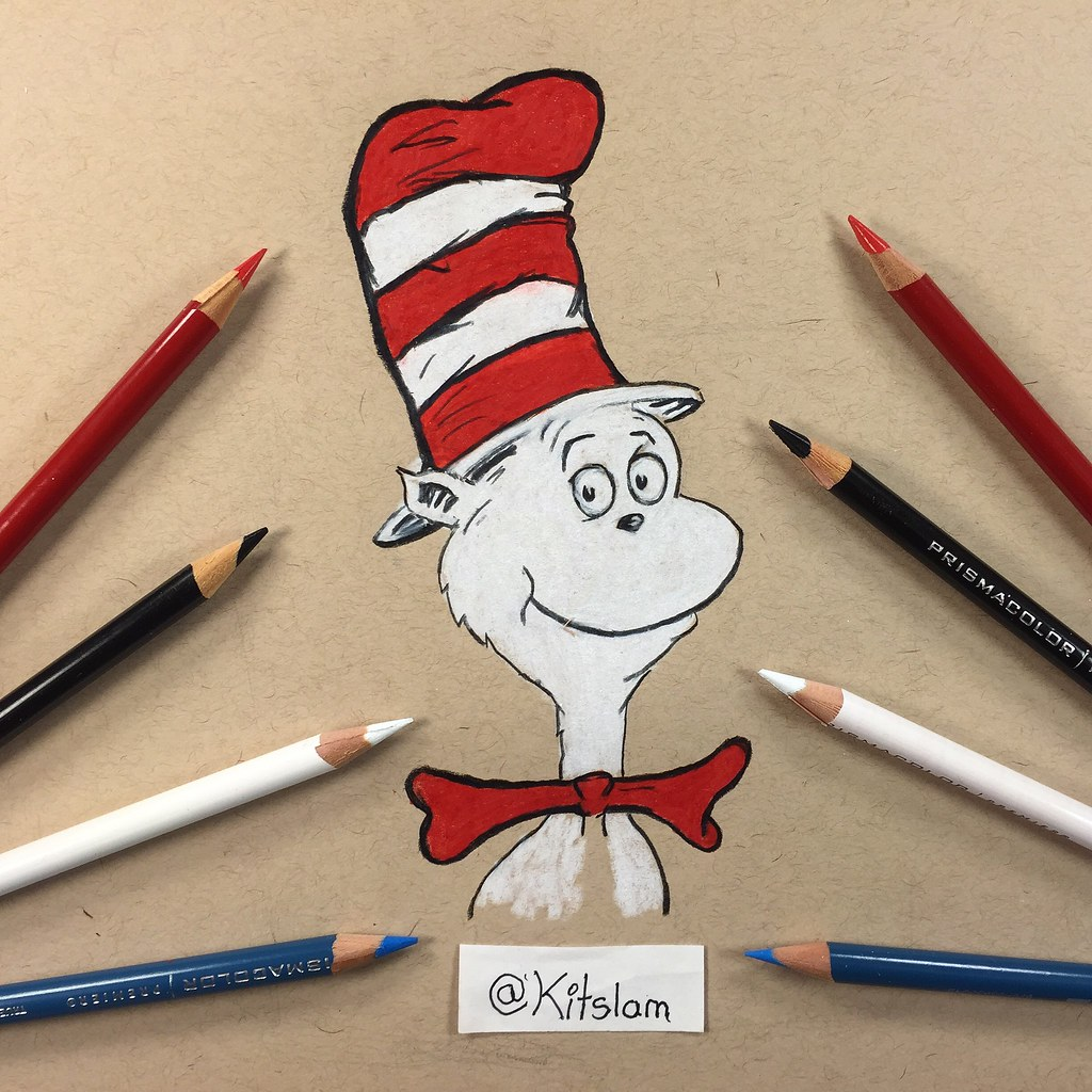 cat in the hat drawing dr seuss two hand drawing flickr