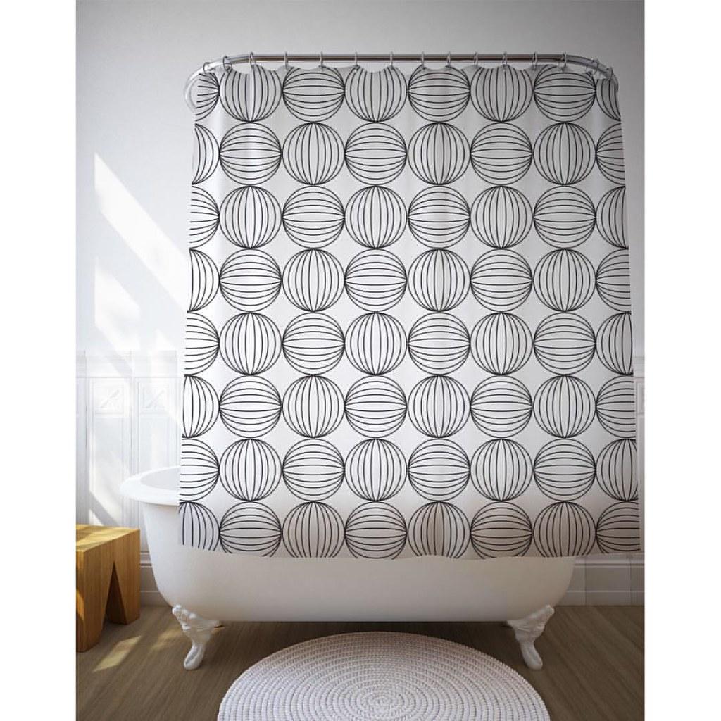 Circles Shower Curtain Etsy Showercurtain Bathdecor Blackandwhite Graphic Interior