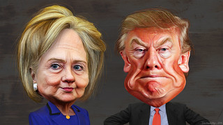 Hillary Clinton vs. Donald Trump - Caricatures | by DonkeyHotey