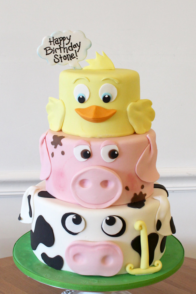 Farm Animal Faces Birthday Cake Oakleaf Cakes Flickr