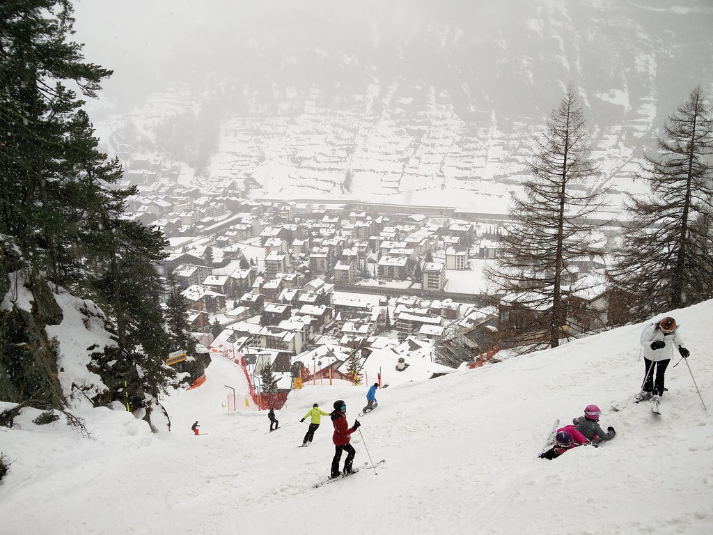 Ski slope to the village