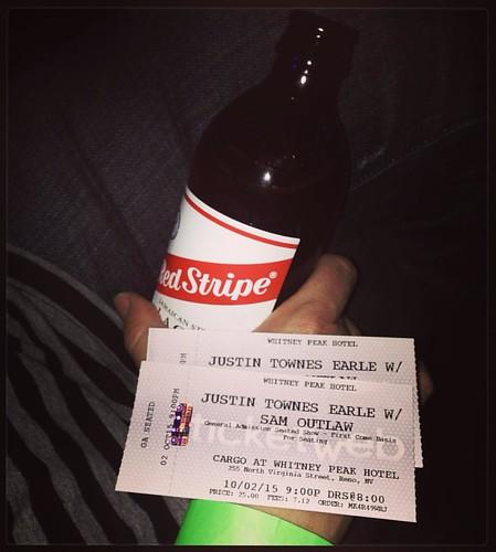 #tonightsoundslikethis #justintownesearle #livemusic #cargoreno #beenwaitingalongtime  #toseethisdude #ticketporn #latergram #redstripe
