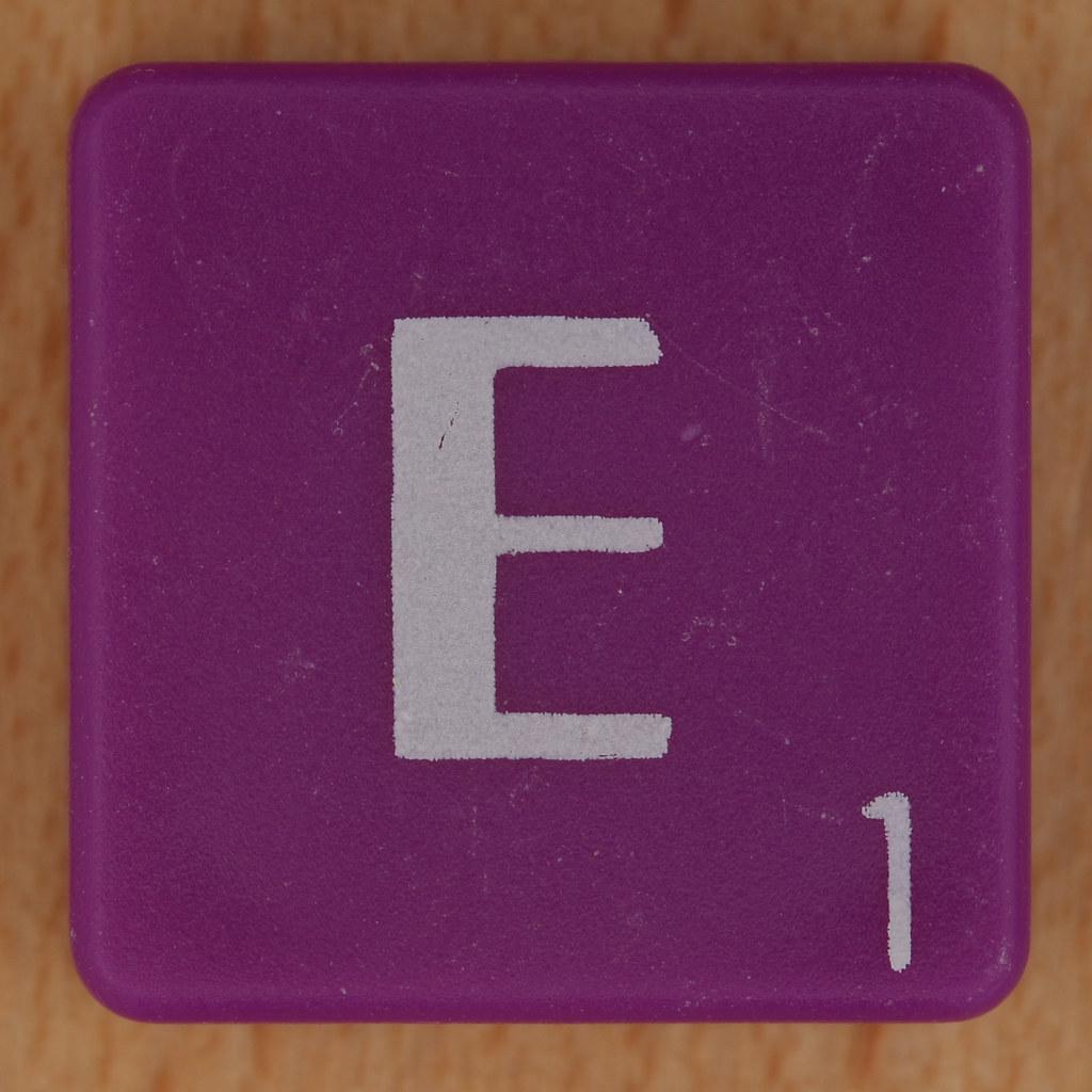 scrabble white letter on purple e leo reynolds flickr