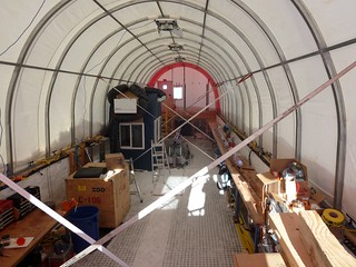 Interior view of the drill tent as being left for the winter | by U.S. Ice Drilling