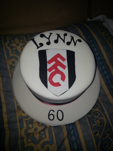 60th birthday cake with Fulham football logo | by platypus1974