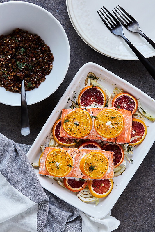 Slow Roasted Citrus Fennel King Salmon with Crispy Fried Lentils