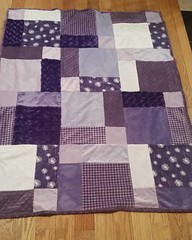 Purple minkee quilt is so soft and cozy. Love how it turned out.