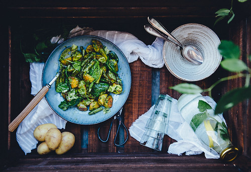 Sprouted Kitchen's Baby Potato & Asparagus Tangle with Green Harissa | Cashew Kitchen | by cashewkitchen