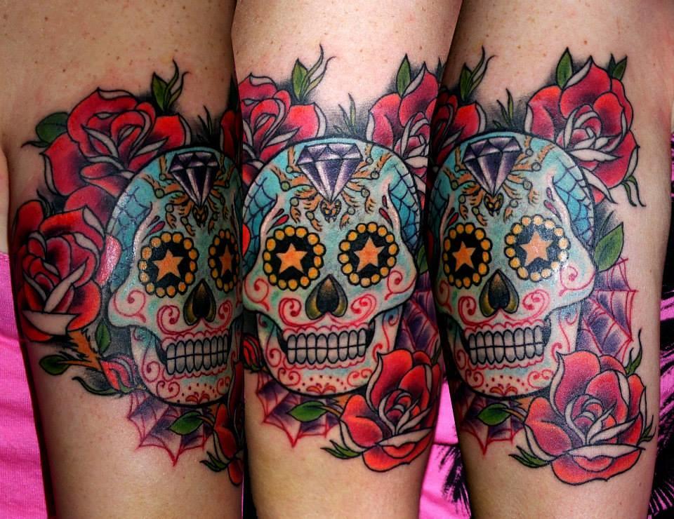 Tatuaje Calavera Azúcar Sugar Skull Color Rosas Old School Flickr