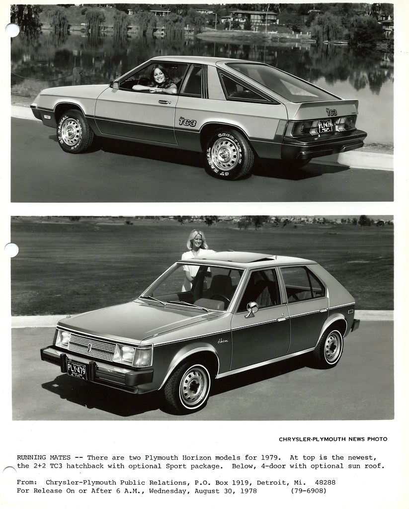 ... Vintage Chrysler Plymouth News Photo Of The 1979 Plymouth Horizon TC3  Hatchback And Horizon 4