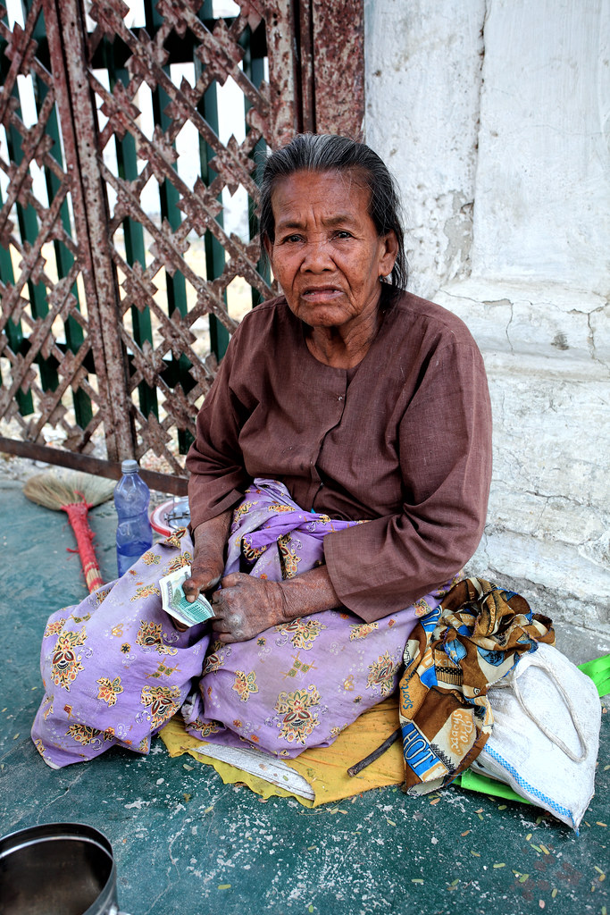 A Venerable Burmese Lady Surviving Old Age