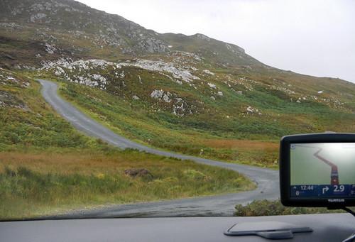 A drive along a narrow road on the Inishowen Peninsula in Ireland