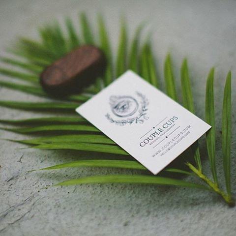 letterpress business card for Hawaii wedding photographers