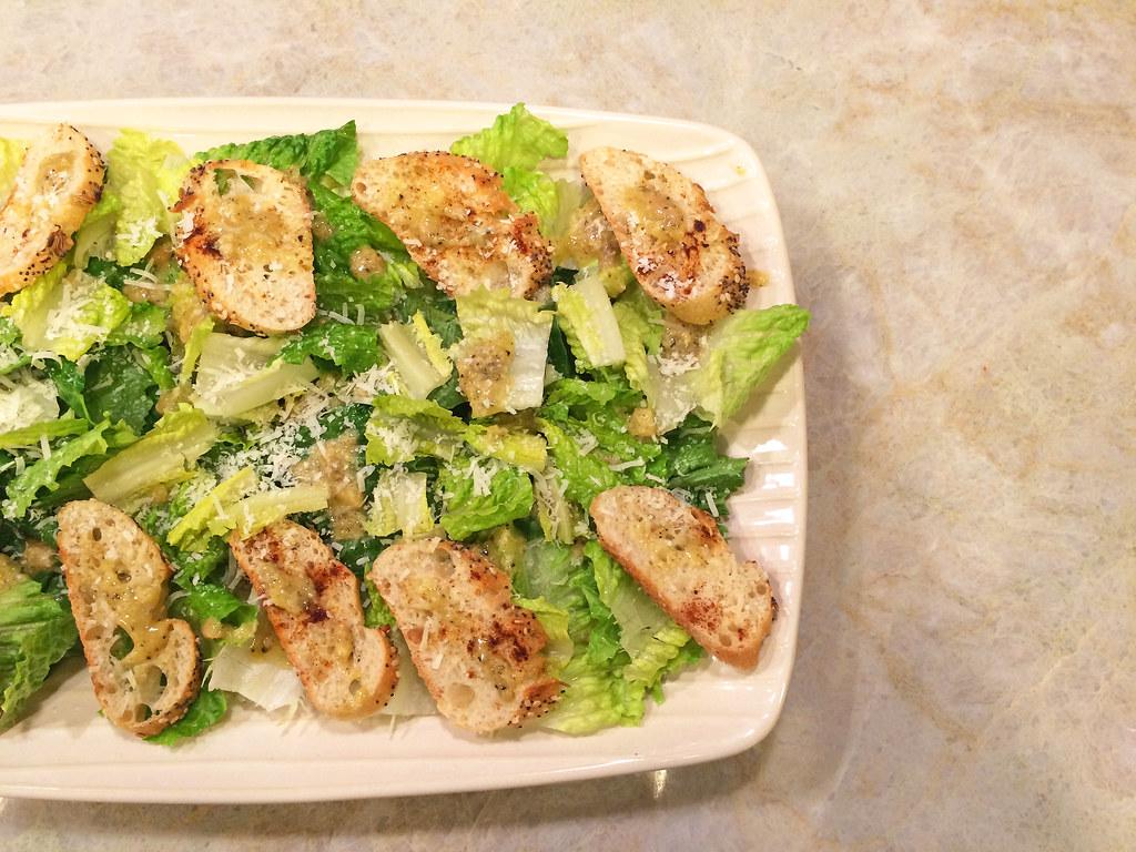 Caesar salad with Parmesan toasts