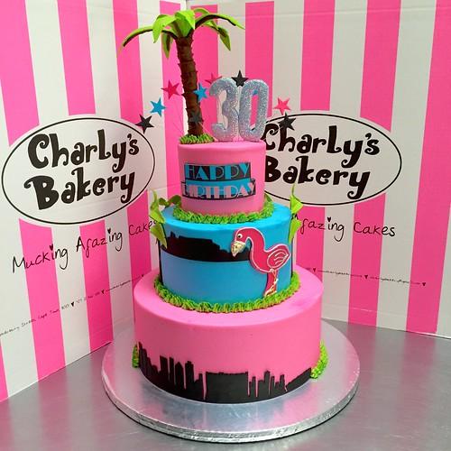 Birthday Table Mountain: Miami Vice Themed 3-tier 30th Birthday Cake With Skyline