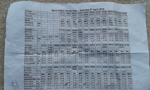Nene Valley Diesel Gala 9th April 2016 Timetable | by Railwide