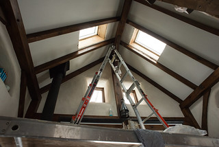Scaffolding Set Up for Re-Staining Beams and Re-Painting Drywall | by goingslowly