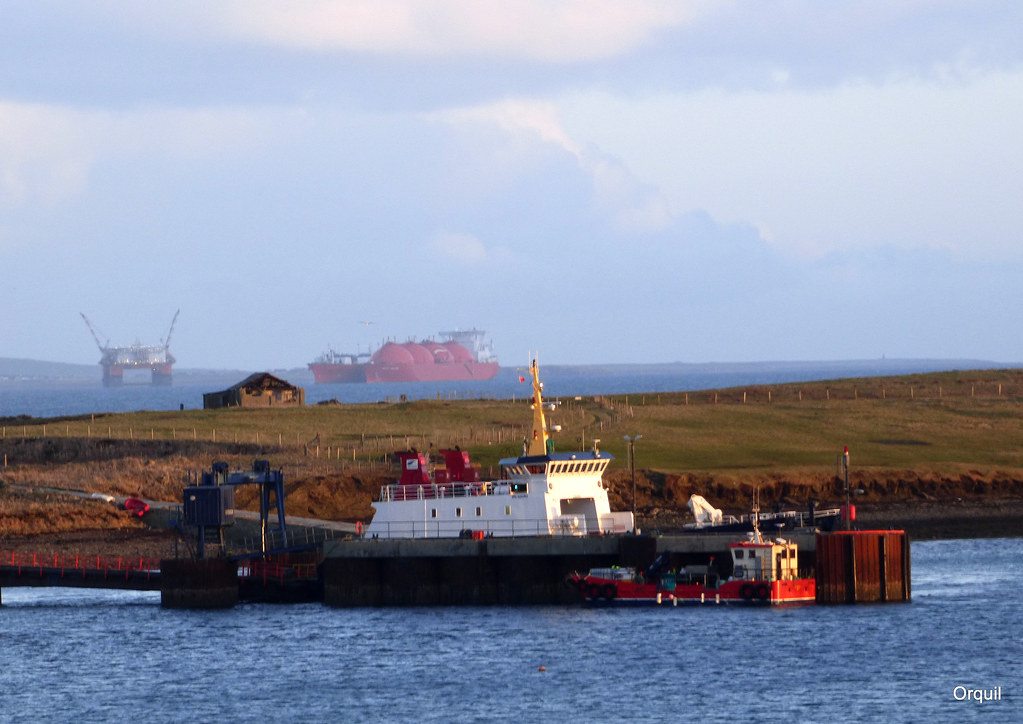 looking east past orkney s houton pier the thorsvoe ferry flickr