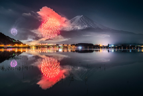 Wallpaper Celebrations Fireworks Reflections Lake Hd: Mt. Fuji And Fireworks Reflected In Kawaguchiko