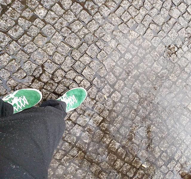 Prototype pants in the rain