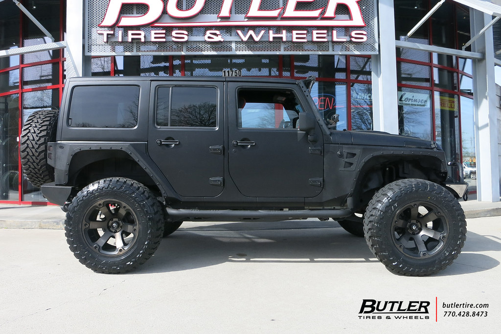 ... Matte Black Jeep Wrangler With 20in Fuel Beast Wheels And Toyo MT Tires  With XRC Fenders