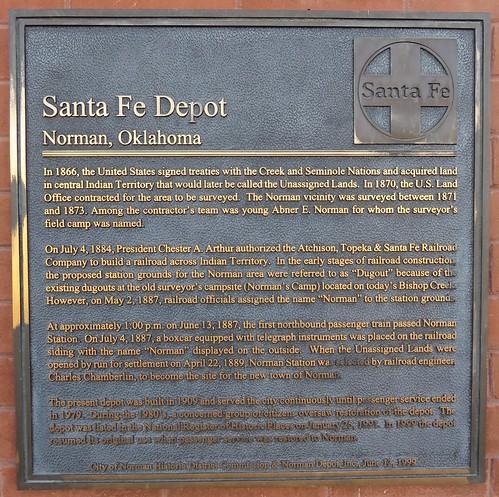 Old Santa Fe Railroad Depot Plaque Norman Oklahoma Flickr