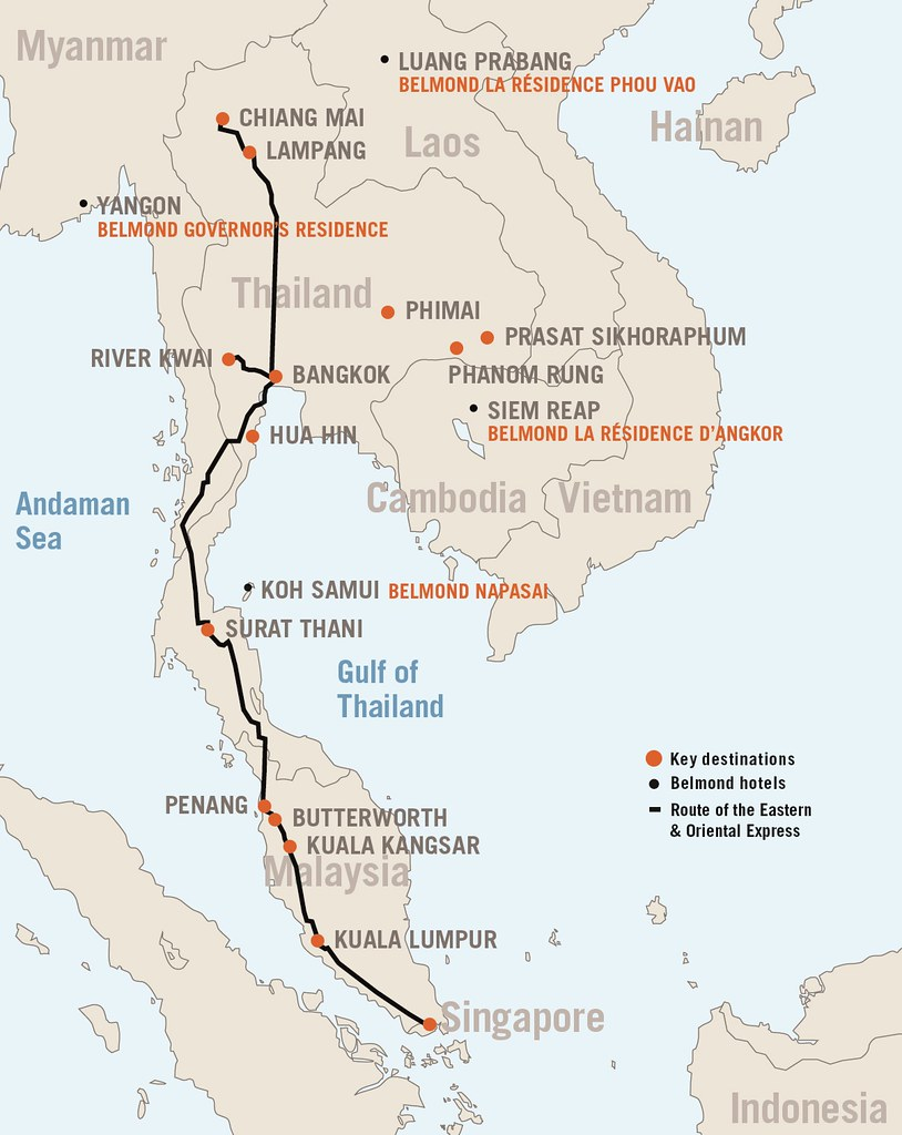 eastern & oriental express route map | about the train exper… | flickr