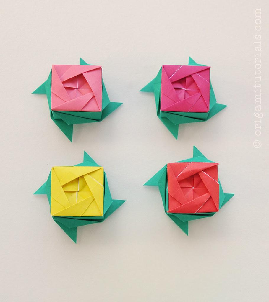 Origami Rose Box Design Ayako Kawate Origamitutorials Flickr