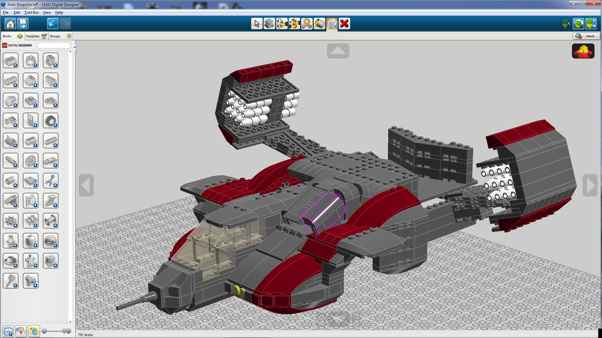 Building of a lego dropship moc part 1 lego digital for Lego digital designer templates