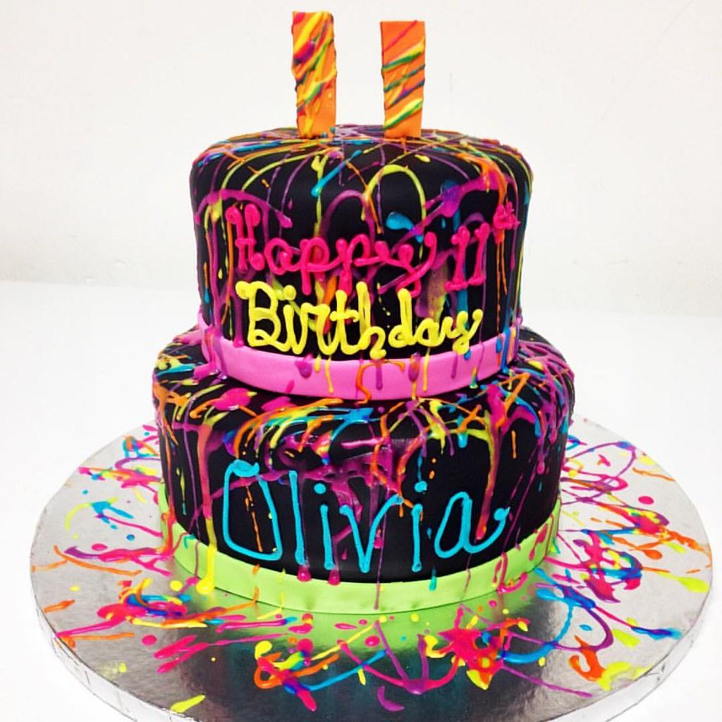 Neon Paint Splatter Birthday Cake Bakerylife Phillyfood Flickr
