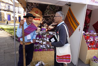 RTB Director, Graham Thiele, speaks with a potato farmer at the World Potato Congress in Peru. Photo: H.Holmes/RTB | by rtb_cgiar