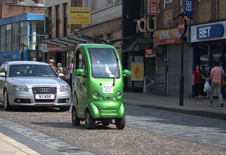 Strange green car holding up traffic in Preston | by Tony Worrall