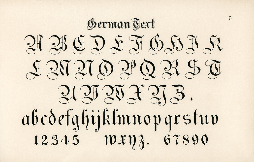 German Style Calligraphy Fonts From Draughtsman39s Alphabets By Hermann Esser 1845ndash