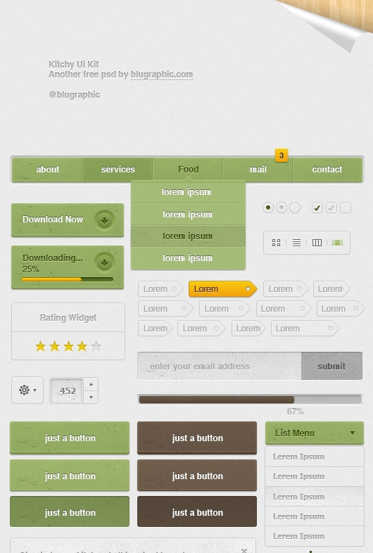 Kitchy Ui Kit – theme web elements for restaurant and cafes