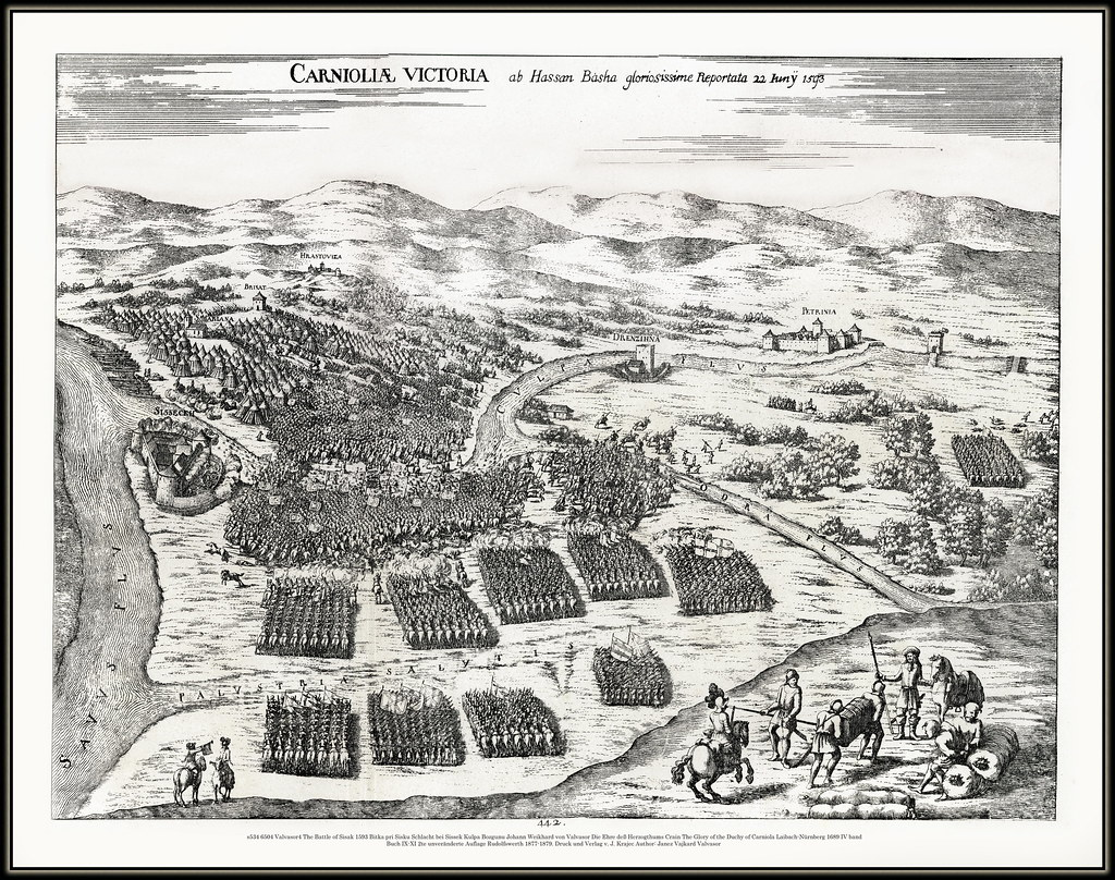 ... s534 6504 Valvasor4 The Battle of Sisak 1593 Etching with the  presentation of Sisak battle in
