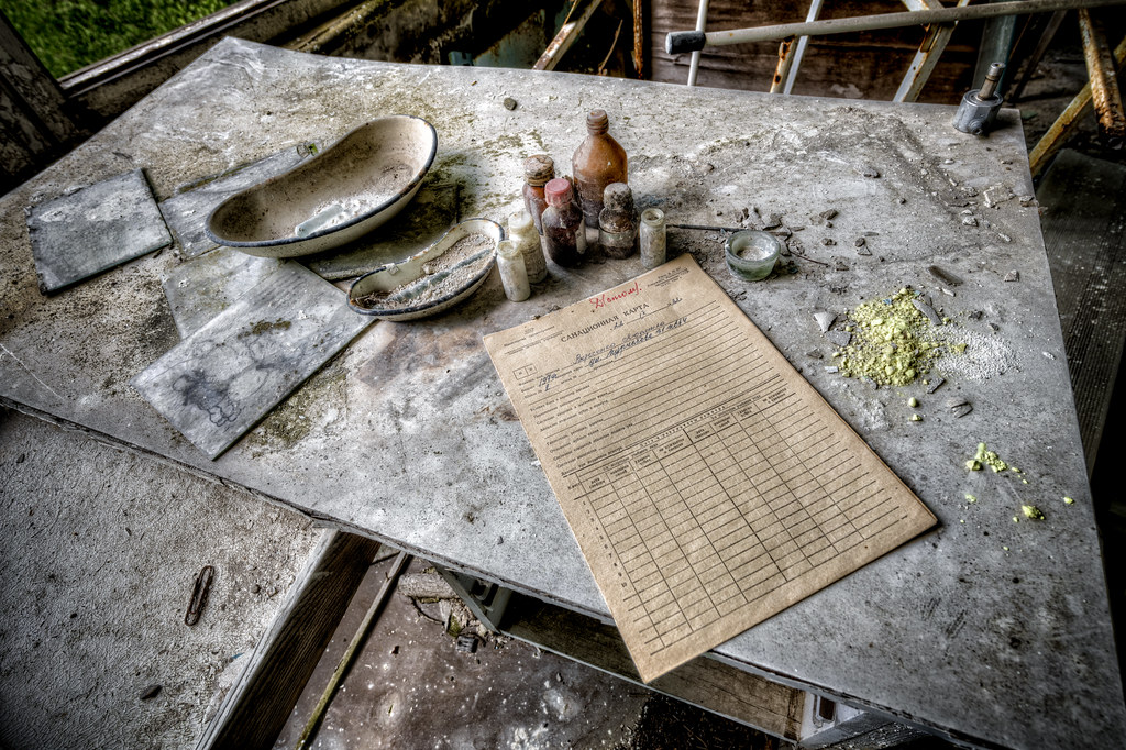 medicine and medical logs inside pripyat within the cherno flickr
