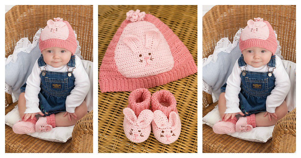 Cute Bunny Baby Hat And Booties Free Crochet Pattern Flickr