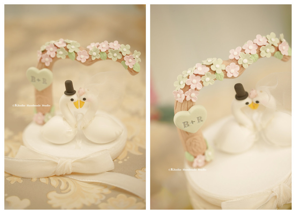 love Swan with flowers love tree wedding cake topper, cute… | Flickr