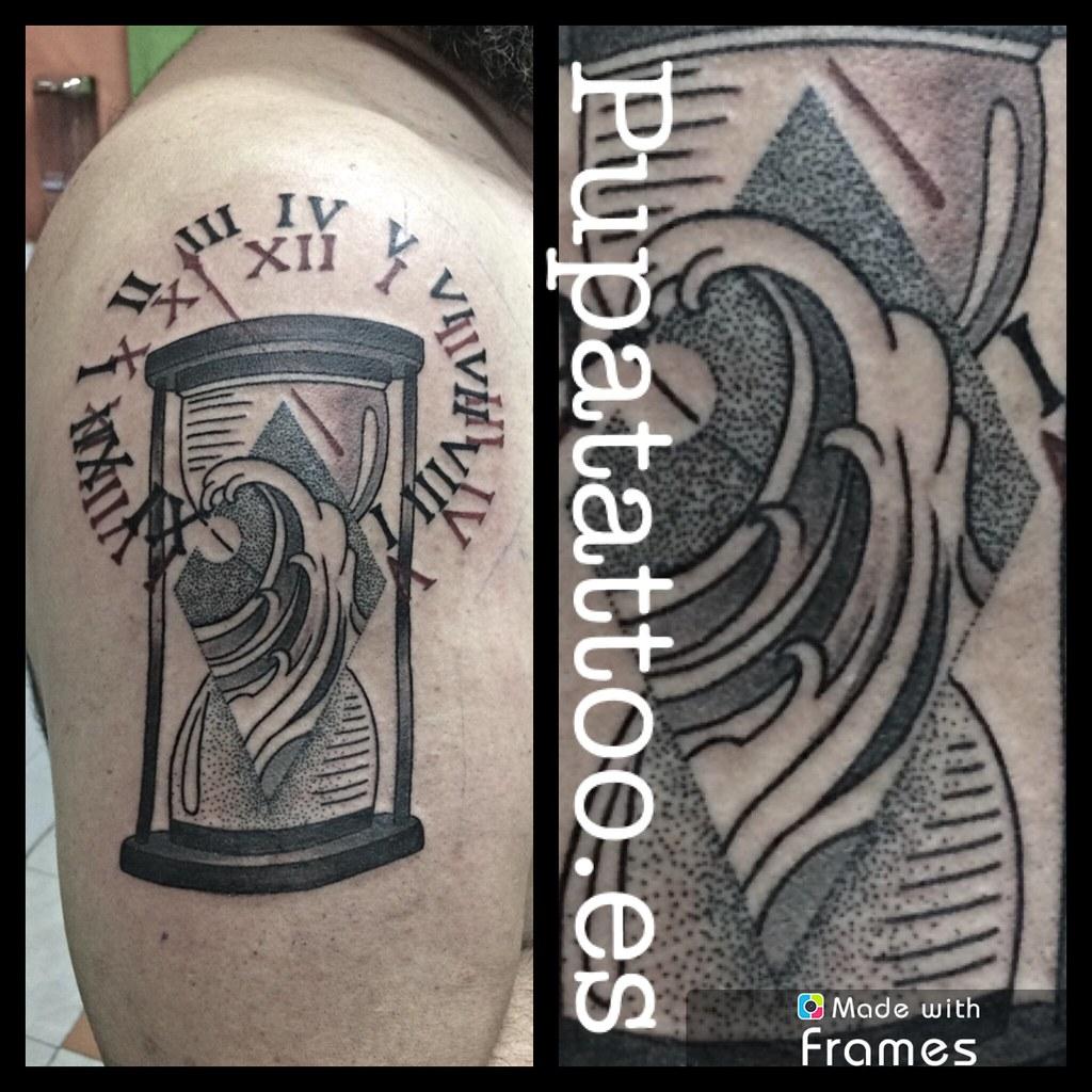 Tatuaje Reloj Arena Pupa Tattoo Granada Web Wwwpupatatto Flickr