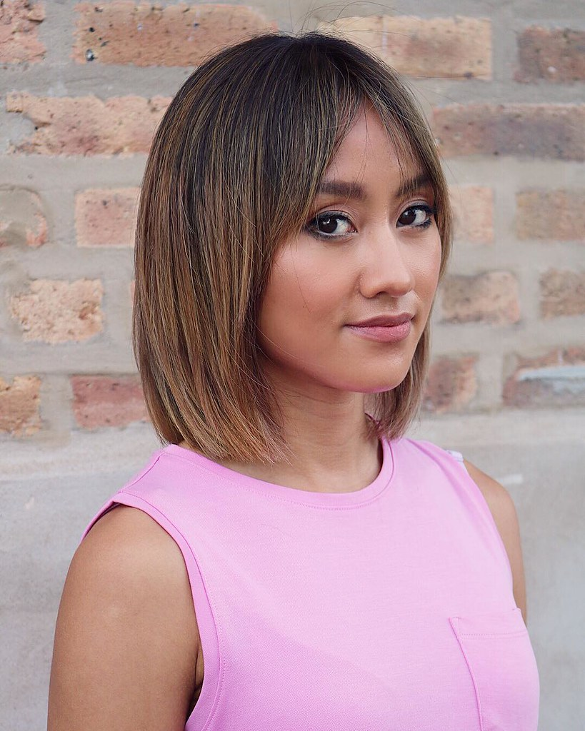 Straight Classic Lob With Curtain Bangs And Bronde Hair Co Flickr