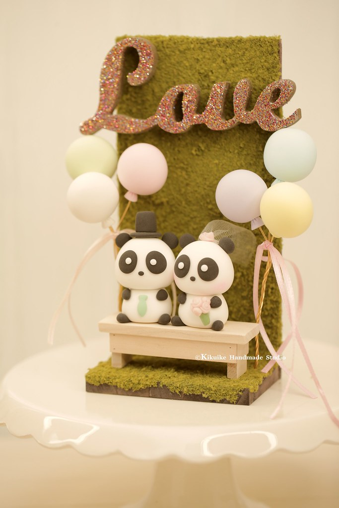 Handmade panda bride and groom custom wedding cake topper,… | Flickr