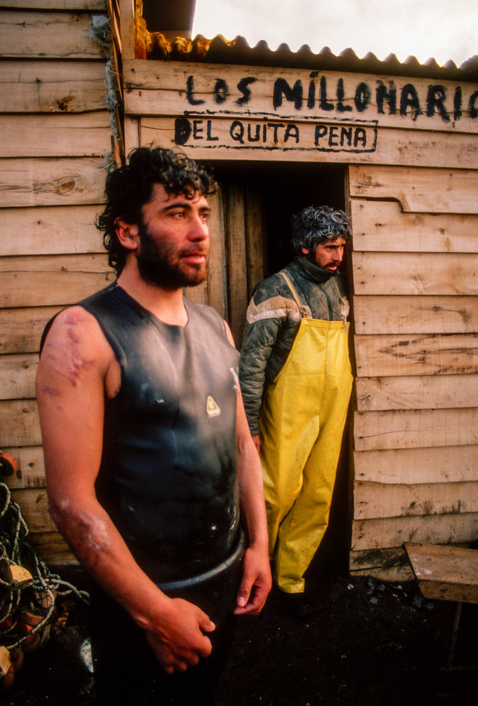 Abalone fishermen, Chiloe,  Chile, 1988 | by Marcelo  Montecino
