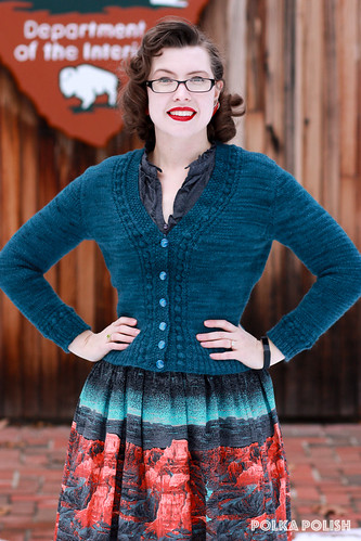 """Quick To Knit"" cardigan & Millworth's Grand Canyon skirt 